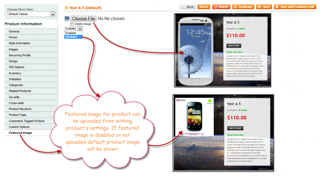 Featured product image panel