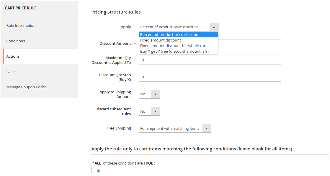 Cart Price Rules- Actions