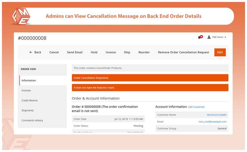 Cancellation Message
