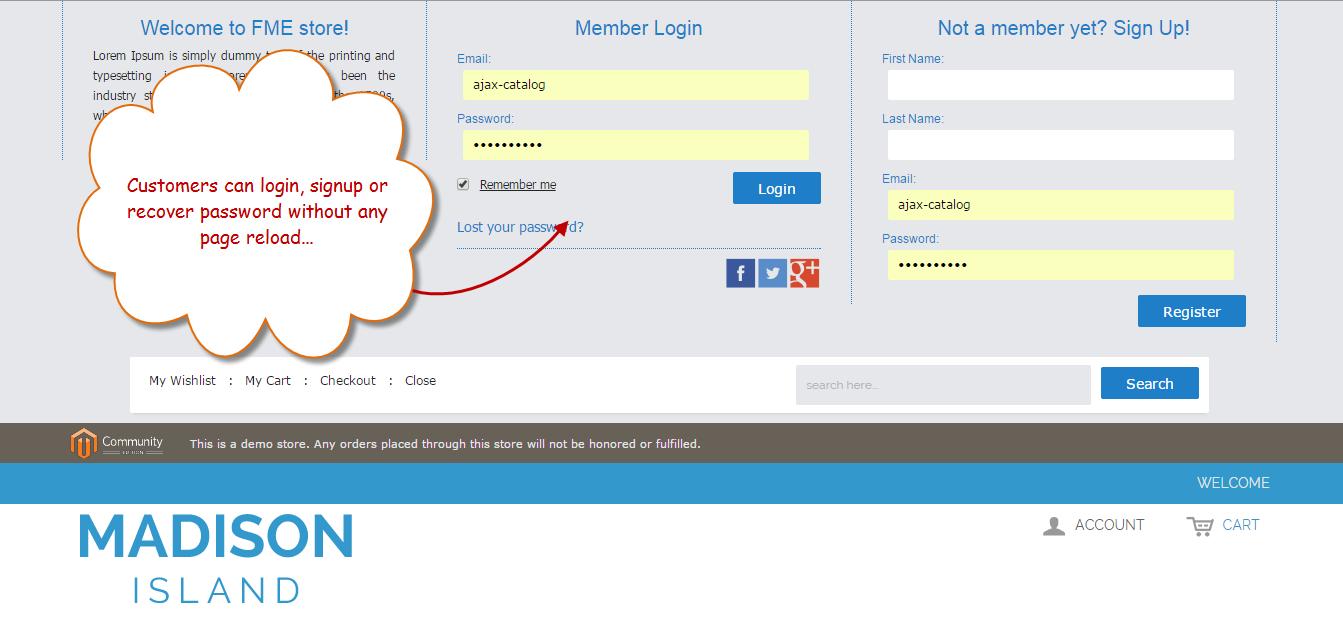 AJAX Social Login Register